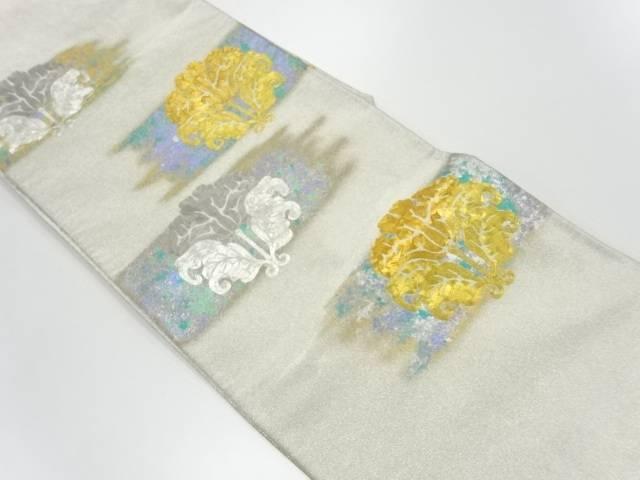 【IDnet】 苑寿織匠 藤林徳扇 引箔草花模様刺繍袋帯【リサイクル】【中古】【着】