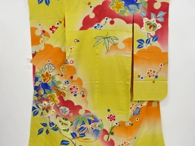 【IDnet】 紋錦紗椿・橘・八重梅模様刺繍一つ紋振袖【大正ロマン】【中古】【着】