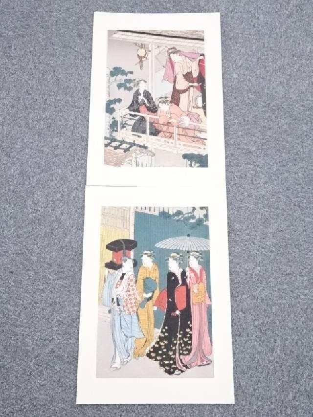 【IDnet】 鳥居清長 地紙売り 手刷浮世絵木版画(縦二枚続)【中古】【道】