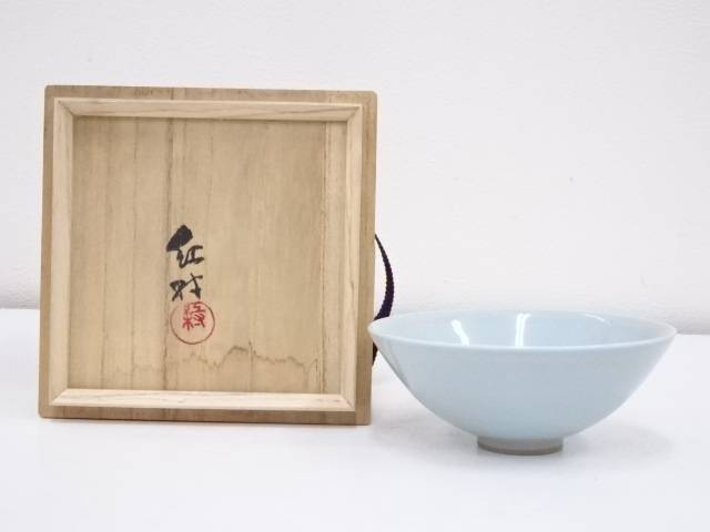 【IDnet】 京焼 林紅村造 青磁茶碗【中古】【道】