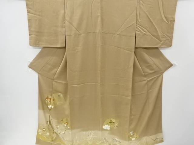 【IDnet】 金彩色紙に草花模様刺繍一つ紋色留袖【リサイクル】【中古】【着】