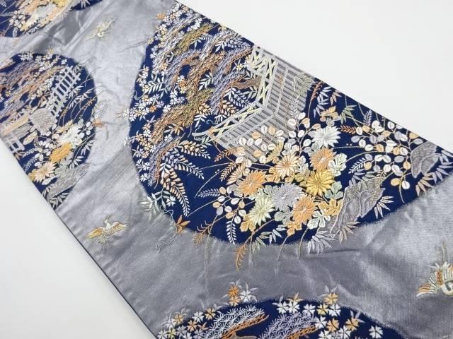 【IDnet】 垣根に草花模様織り出し袋帯【リサイクル】【中古】【着】