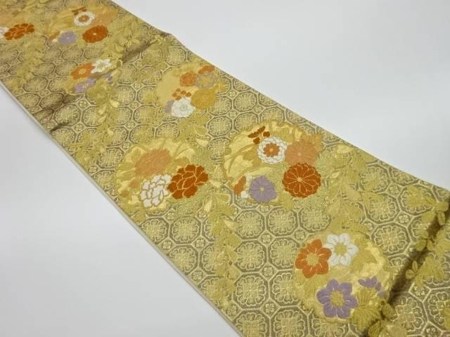 【IDnet】 雪輪に花々模様織出し袋帯【リサイクル】【中古】【着】