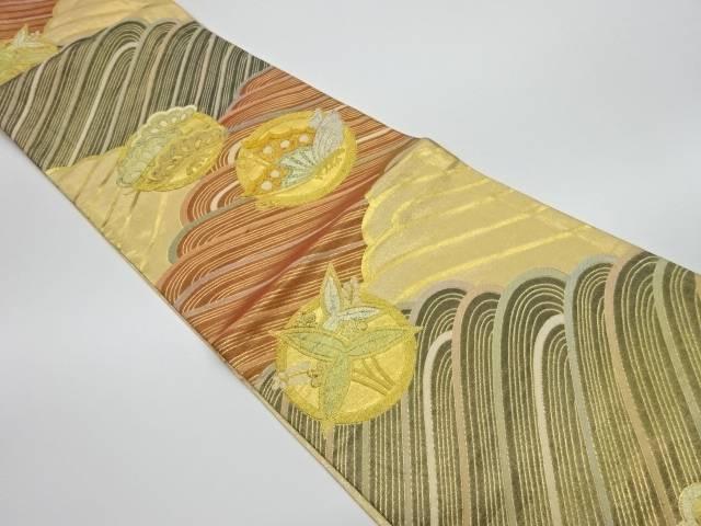 【IDnet】 丸紋に草葉・蝶模様織出しリバーシブル袋帯【リサイクル】【中古】【着】