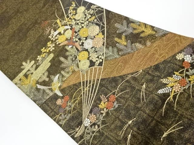 【IDnet】 扇に花々模様織出し袋帯【リサイクル】【中古】【着】
