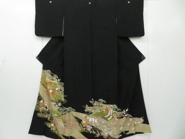 【IDnet】 黒留袖 建物に菊・松文 着物【リサイクル】【中古】【着】
