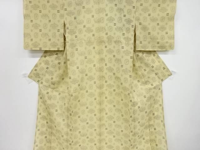 【IDnet】 紗紬花に井桁模様織り出し着物【リサイクル】【中古】【着】