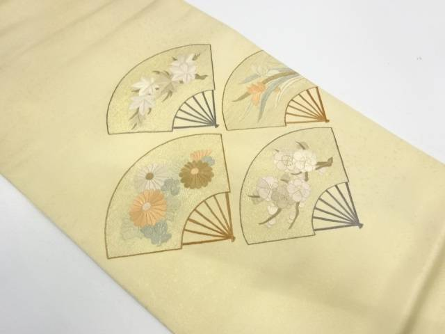 【IDnet】 扇に草花模様刺繍袋帯【リサイクル】【中古】【着】