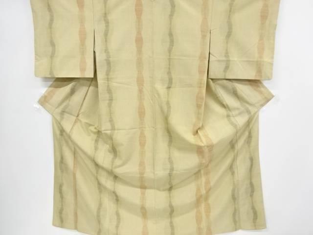 【IDnet】 よろけ縞模様織り出し手織り節紬着物【リサイクル】【中古】【着】