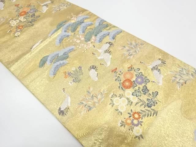 【IDnet】 鶴に草花模様織出し袋帯【リサイクル】【中古】【着】