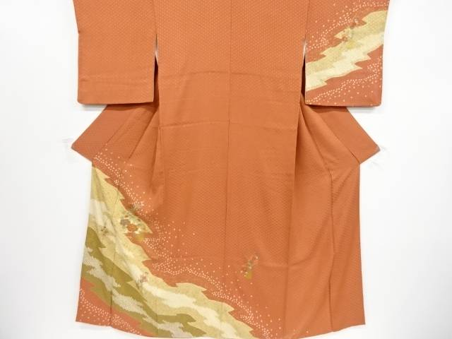 【IDnet】 金彩絞り牡丹に橘・椿模様刺繍訪問着【リサイクル】【中古】【着】