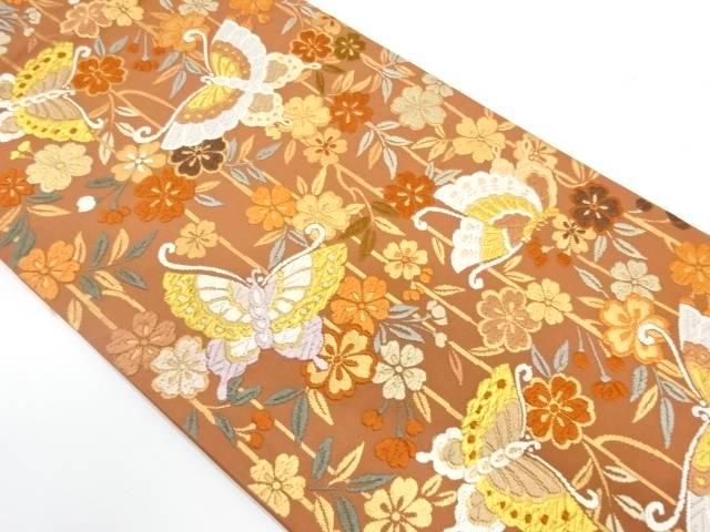 【IDnet】 唐織蝶に草花模様織出し袋帯【リサイクル】【中古】【着】