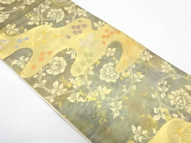【IDnet】 服部織物製 こはく錦流水に花鳥模様織出し袋帯【リサイクル】【中古】【着】