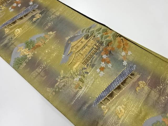 【IDnet】 金閣寺風景模様織出し袋帯【リサイクル】【中古】【着】