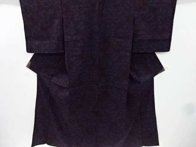 【IDnet】 未使用品 花模様織り出し本場結城紬80亀甲着物(ちぢみ)【リサイクル】【着】