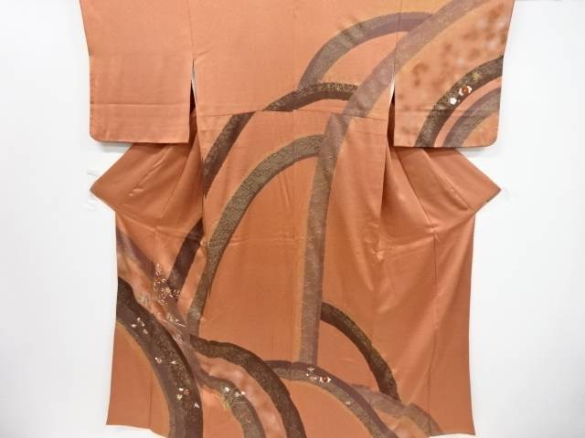 【IDnet】 金彩絞り鴛鴦に桜菊模様一つ紋訪問着(重ね衿付き)【リサイクル】【中古】【着】