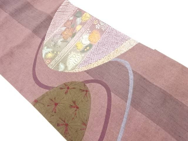【IDnet】 手織紬切り嵌め絞り椿に葵模様洒落袋帯【リサイクル】【中古】【着】