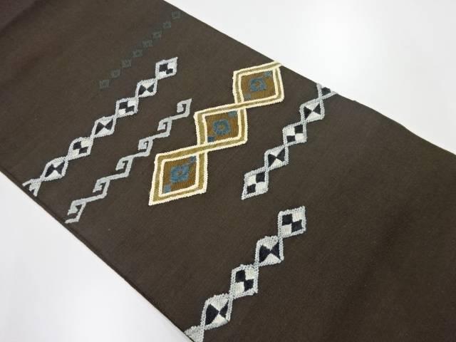 【IDnet】 切りビロード変わり横段に菱・抽象模様織出し洒落袋帯【リサイクル】【中古】【着】