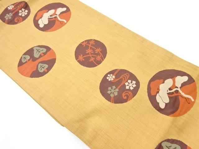 【IDnet】 丸文に松・雪花模様織出し袋帯【リサイクル】【中古】【着】