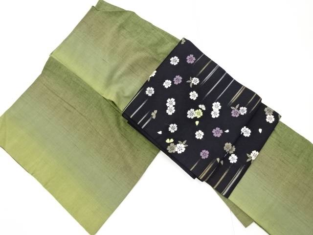 【IDnet】 雨縞模様織り出し手織り節紬着物・名古屋帯セット【リサイクル】【中古】【着】