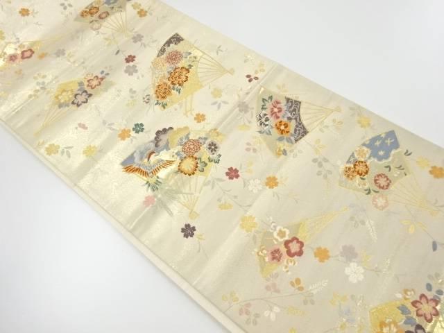 【IDnet】 扇に牡丹・花鳥模様織出し袋帯【リサイクル】【中古】【着】