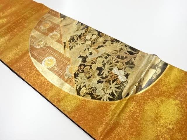 【IDnet】 金彩螺鈿 鳳凰に菊桐模様袋帯【リサイクル】【中古】【着】