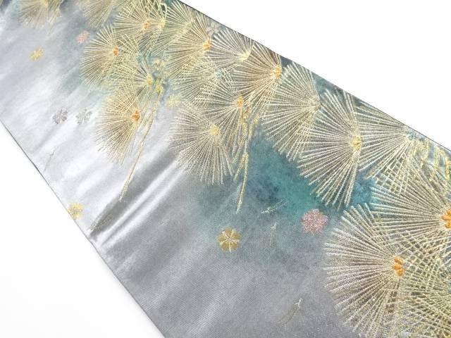 【IDnet】 引箔 松葉に桜模様織り出し袋帯【リサイクル】【中古】【着】