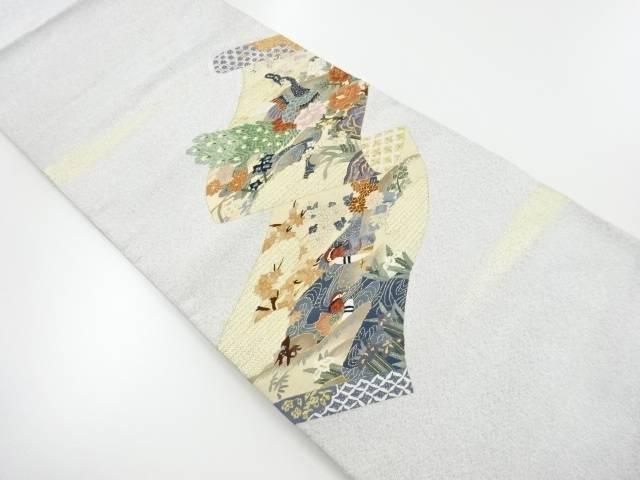 【IDnet】 綴れ巻物に孔雀・鴛鴦・牡丹模様織り出し袋帯 【リサイクル】【中古】【着】