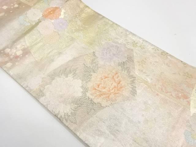 【IDnet】 地紙に草花模様織出し袋帯【リサイクル】【中古】【着】