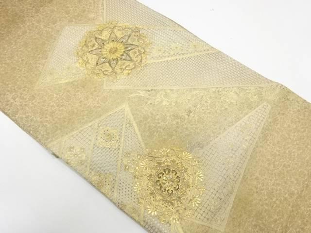 【IDnet】 金彩螺鈿汕頭刺繍華紋模様袋帯【リサイクル】【中古】【着】