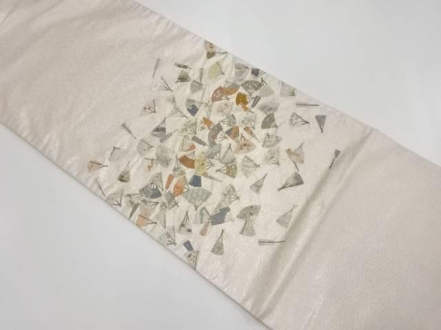【IDnet】 蘇州刺繍扇散らしに草花模様袋帯【リサイクル】【中古】【着】