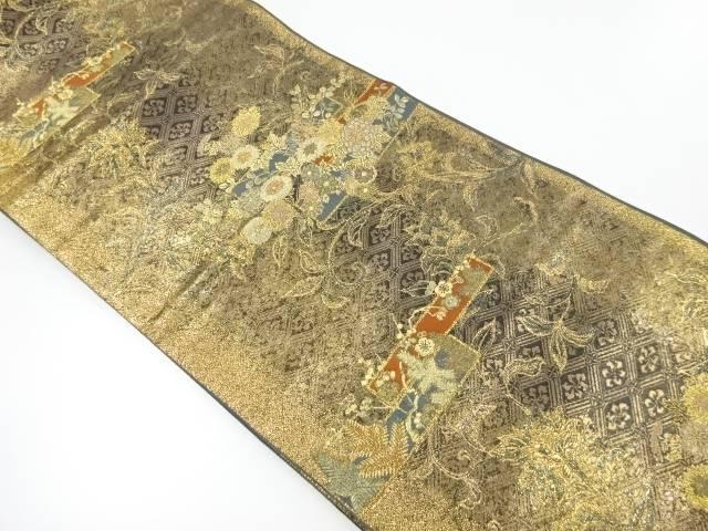 【IDnet】 菊に花唐草模様織り出し袋帯 【リサイクル】【中古】【着】