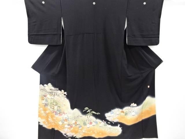 【IDnet】 作家物 寿光織手描き時代人物模様留袖(比翼付き)【リサイクル】【中古】【着】