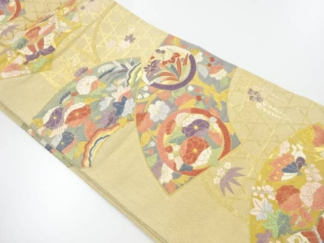 【IDnet】 唐織 扇面花蝶文織り出し袋帯【リサイクル】【中古】【着】
