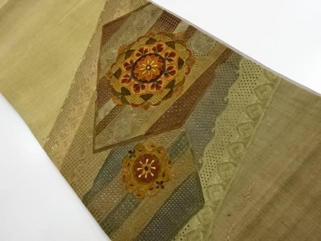 【IDnet】 未使用品 手織り真綿紬 汕頭蘇州刺繍 華紋更紗模様袋帯【リサイクル】【着】