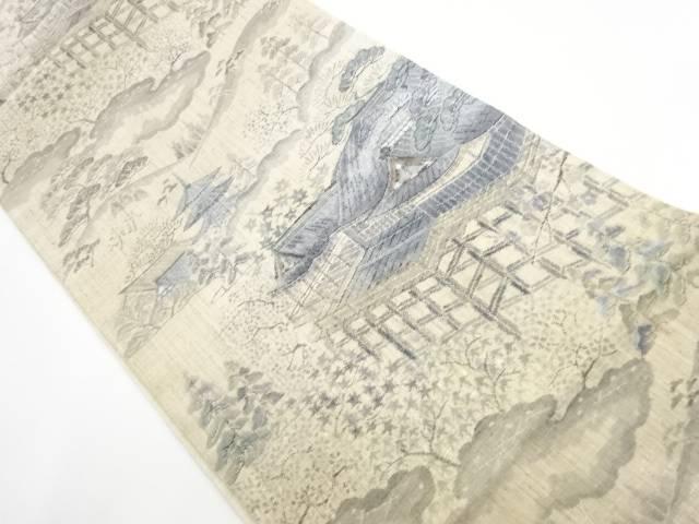 【IDnet】 未使用品 手織り真綿小千谷紬清水寺模様織り出し袋帯【リサイクル】【着】