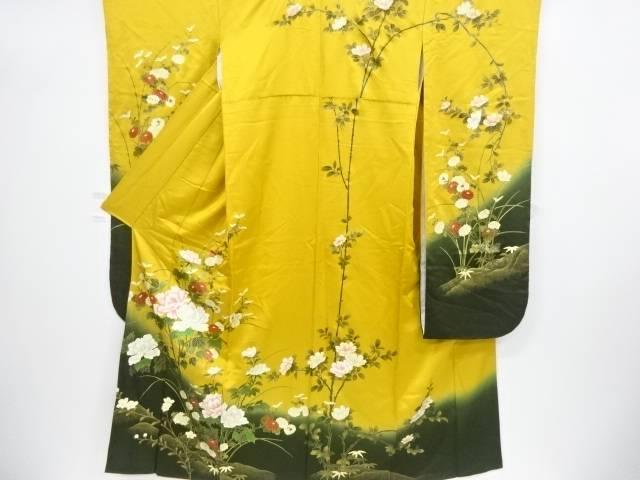 【IDnet】 金彩牡丹に菊笹枝花模様振袖【リサイクル】【中古】【着】