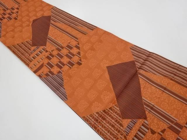 【IDnet】 未使用品 切り嵌め風に縦柄に市松模様織出し全通洒落袋帯【リサイクル】【着】