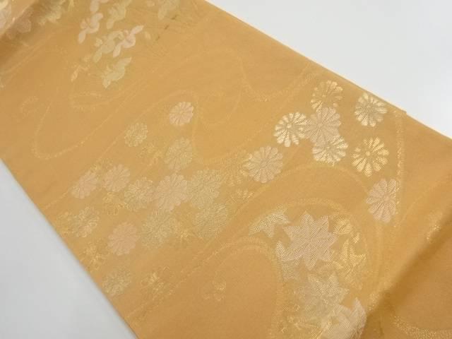 【IDnet】 紗金糸流水に菊楓菖蒲模様織出し袋帯【リサイクル】【中古】【着】