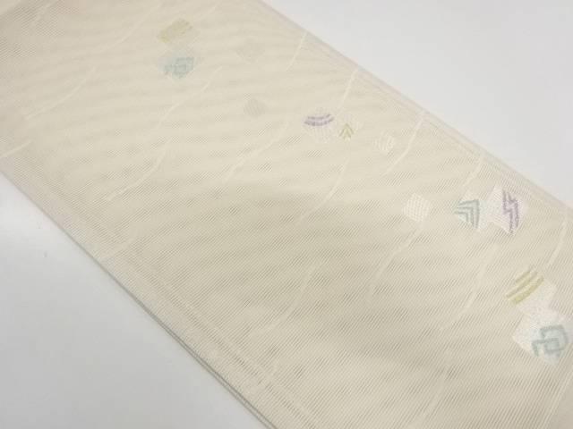 【IDnet】 未使用品 京都イシハラ製 絽紗色紙散らしに抽象模様織出し袋帯(未仕立て)【リサイクル】【着】