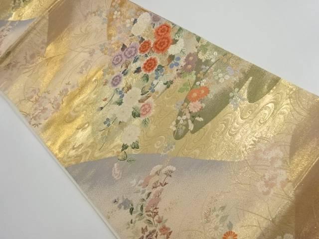 【IDnet】 本金遠山に春秋草花模様織り出し袋帯【リサイクル】【中古】【着】
