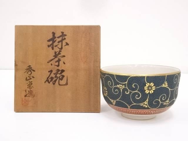 【IDnet】 九谷焼 秀山堂造 青粒唐草文茶碗(共箱)【中古】【道】