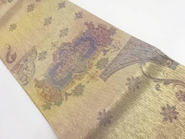 【IDnet】 金糸ふくれ織り花更紗模様織り出し袋帯【リサイクル】【中古】【着】