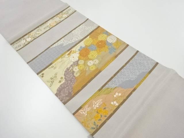 【IDnet】 金糸横段に菊模様織り出し袋帯【リサイクル】【中古】【着】
