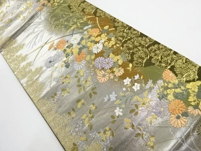 【IDnet】 金銀糸秋草模様織り出し袋帯【リサイクル】【中古】【着】