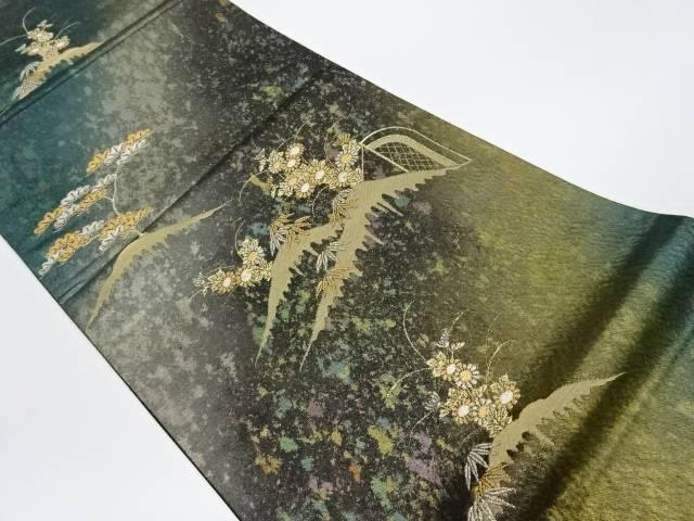 【IDnet】 山並みに草花模様織出し袋帯【リサイクル】【中古】【着】