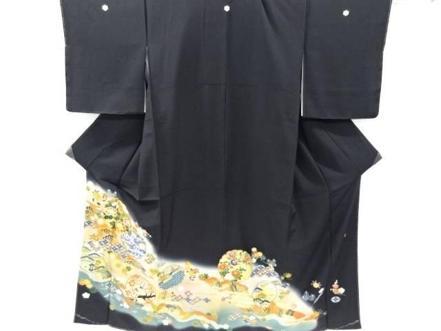 【IDnet】 未使用品 作家物 金彩手描き雪輪に牡丹松竹梅模様刺繍留袖(比翼付き)【リサイクル】【着】