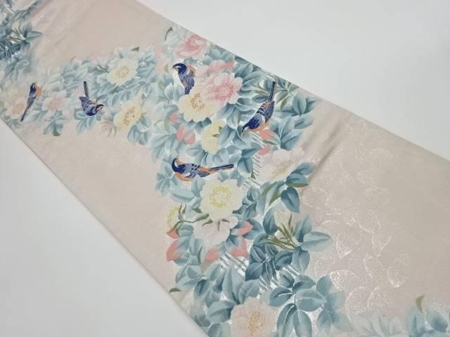 【IDnet】 草花に鳥模様織出し袋帯【リサイクル】【中古】【着】