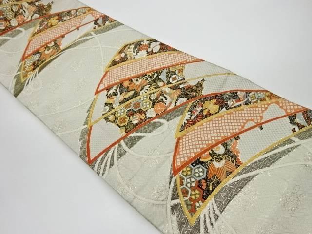 【IDnet】 檜扇に鶴・宝づくし模様織出し袋帯【リサイクル】【中古】【着】