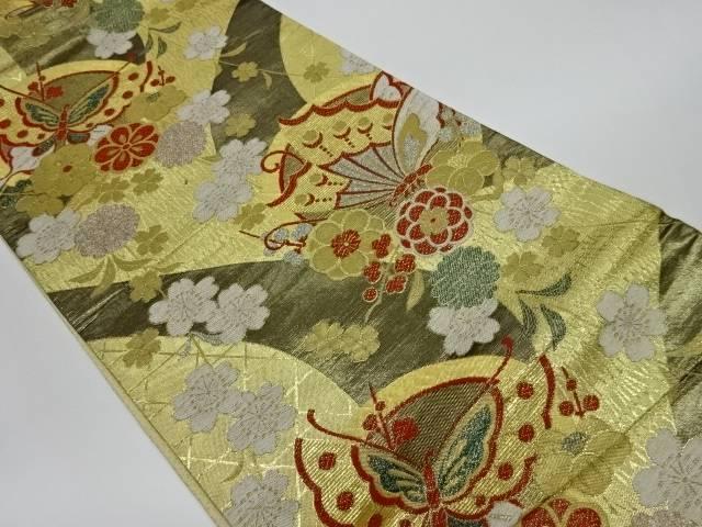 【IDnet】 蝶に花々模様織出し袋帯【リサイクル】【中古】【着】